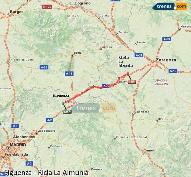 Ingrandisci la mappa Treni Siguenza Ricla La Almunia