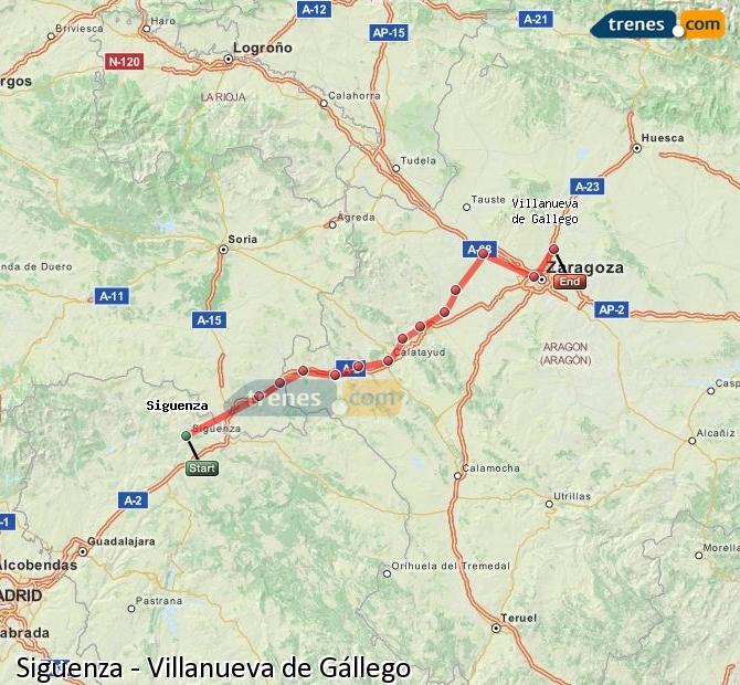 Karte vergrößern Züge Siguenza Villanueva de Gállego