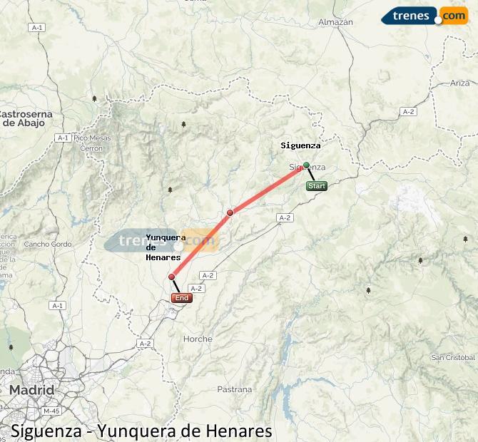 Ampliar mapa Comboios Siguenza Yunquera de Henares