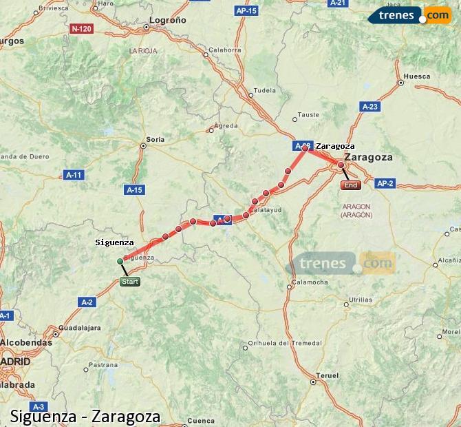 Enlarge map Trains Siguenza to Zaragoza