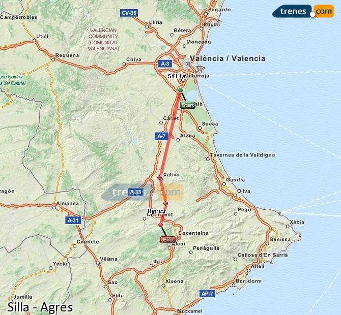 Enlarge map Trains Silla to Agres