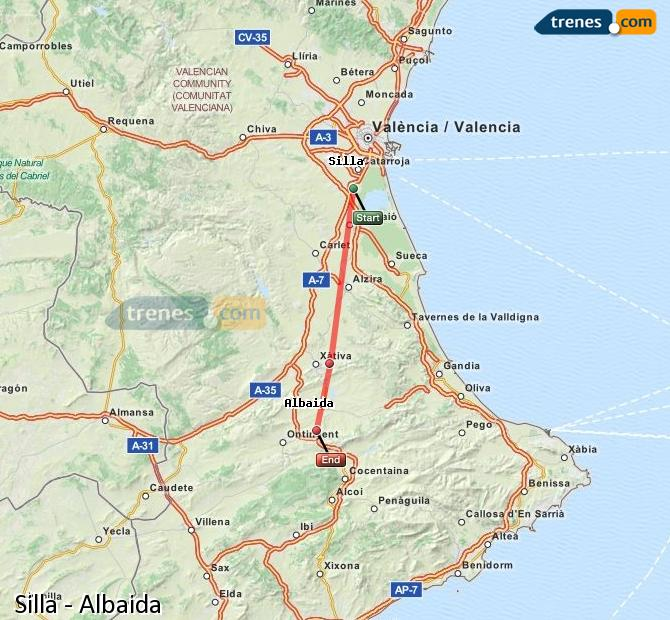 Enlarge map Trains Silla to Albaida