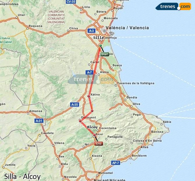 Enlarge map Trains Silla to Alcoy
