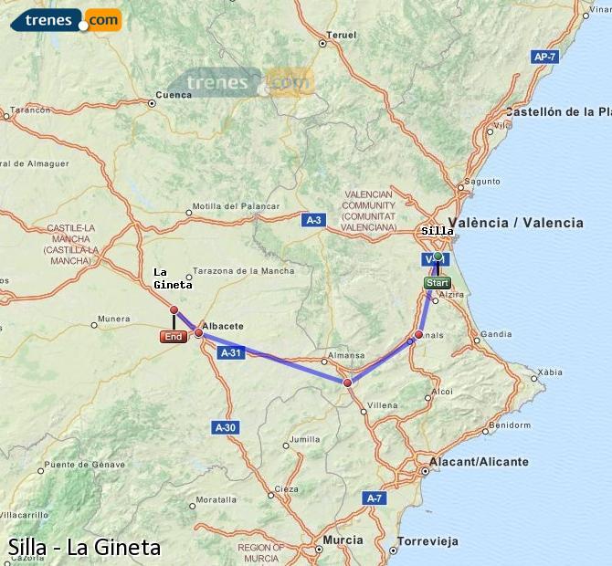 Karte vergrößern Züge Silla La Gineta
