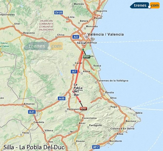 Enlarge map Trains Silla to La Pobla Del Duc