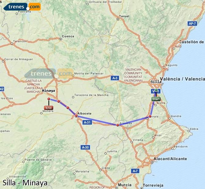 Enlarge map Trains Silla to Minaya