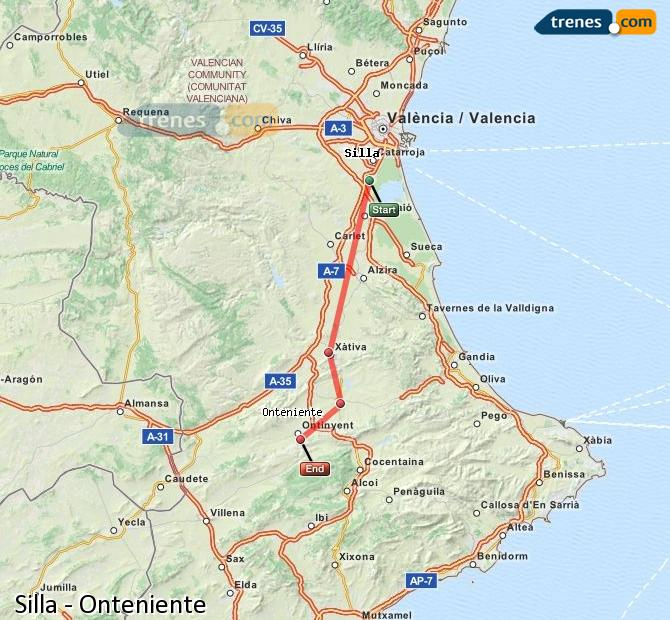 Enlarge map Trains Silla to Onteniente