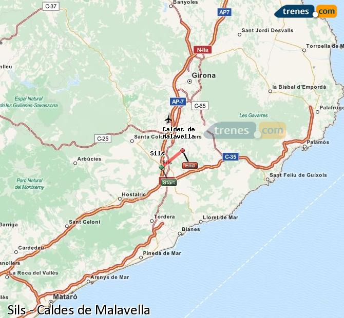 Ampliar mapa Trenes Sils Caldes de Malavella