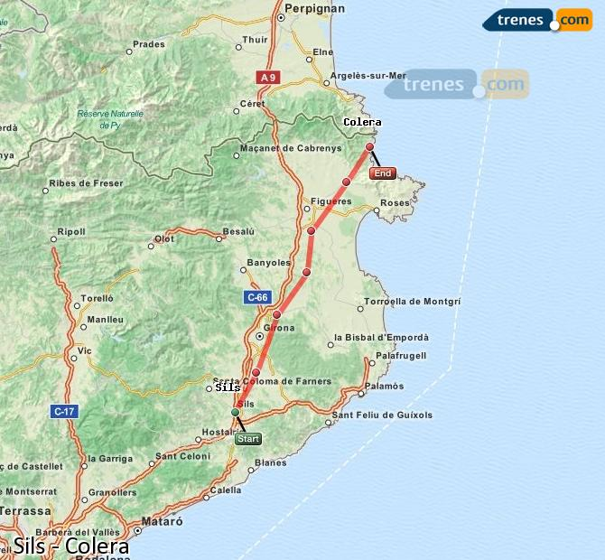 Enlarge map Trains Sils to Colera