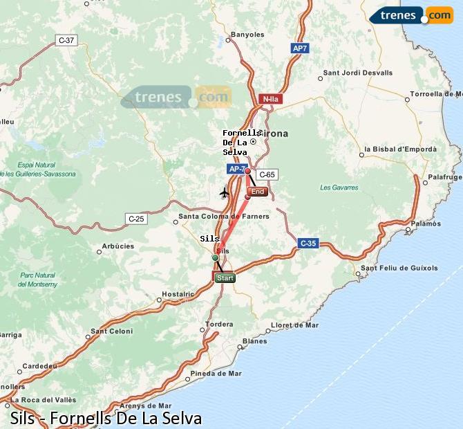 Ingrandisci la mappa Treni Sils Fornells De La Selva