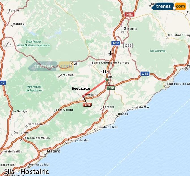 Ingrandisci la mappa Treni Sils Hostalric