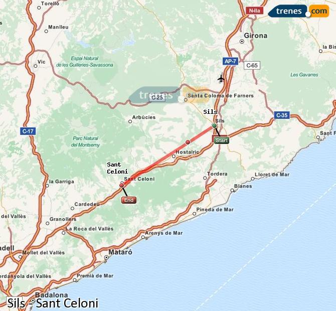 Karte vergrößern Züge Sils Sant Celoni