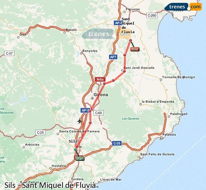Karte vergrößern Züge Sils Sant Miquel de Fluvià