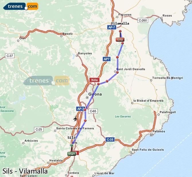 Enlarge map Trains Sils to Vilamalla