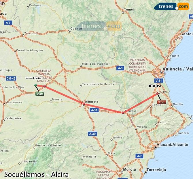 Enlarge map Trains Socuéllamos to Alcira