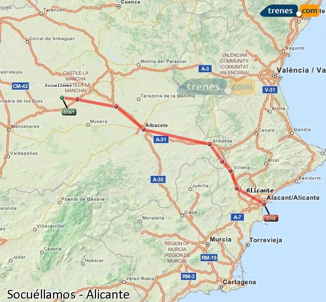 Ingrandisci la mappa Treni Socuéllamos Alicante