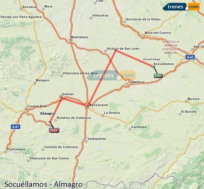 Karte vergrößern Züge Socuéllamos Almagro