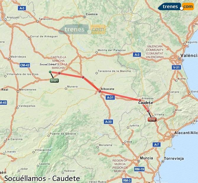 Ingrandisci la mappa Treni Socuéllamos Caudete