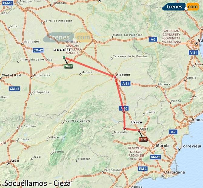 Ampliar mapa Comboios Socuéllamos Cieza