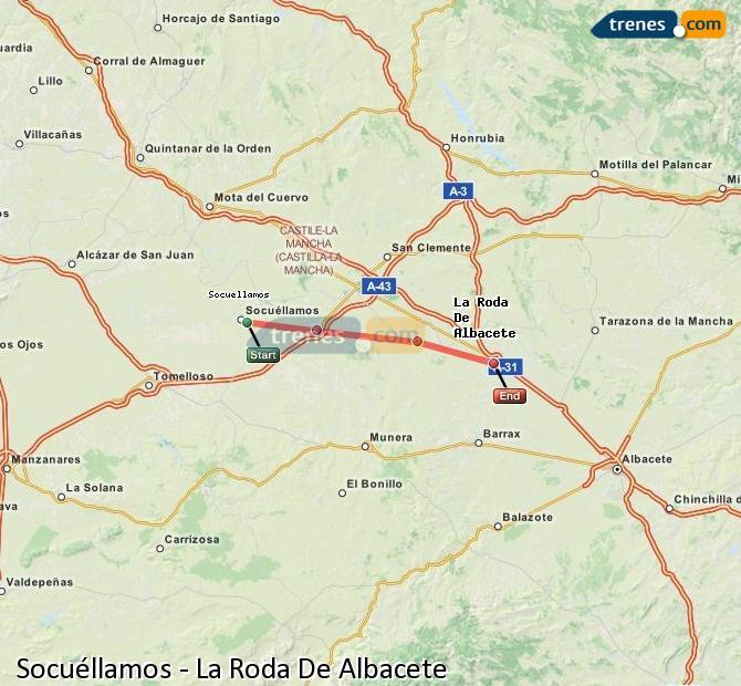 Enlarge map Trains Socuéllamos to La Roda De Albacete