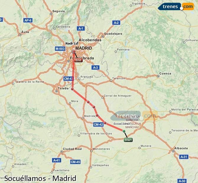 Ampliar mapa Trenes Socuéllamos Madrid