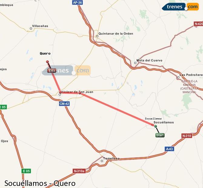 Karte vergrößern Züge Socuéllamos Quero