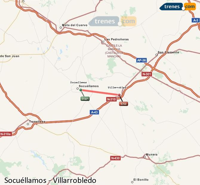 Enlarge map Trains Socuéllamos to Villarrobledo