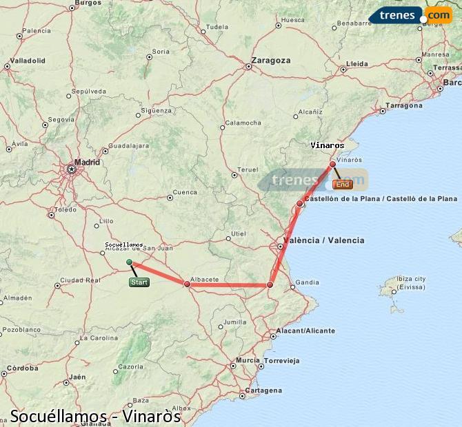 Karte vergrößern Züge Socuéllamos Vinaròs