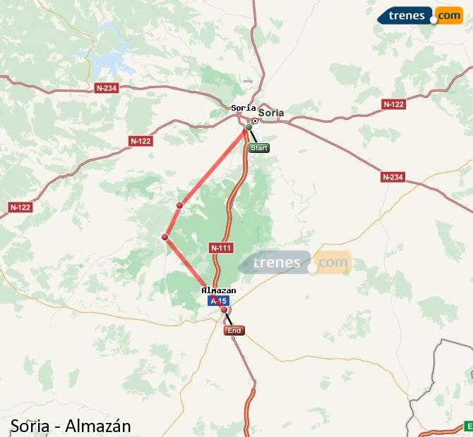 Enlarge map Trains Soria to Almazán