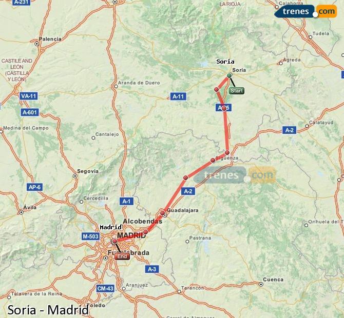 Karte vergrößern Züge Soria Madrid