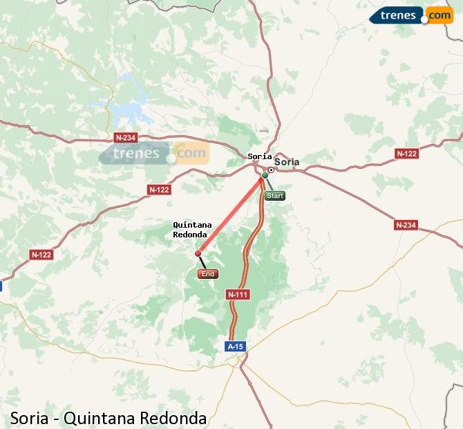 Enlarge map Trains Soria to Quintana Redonda
