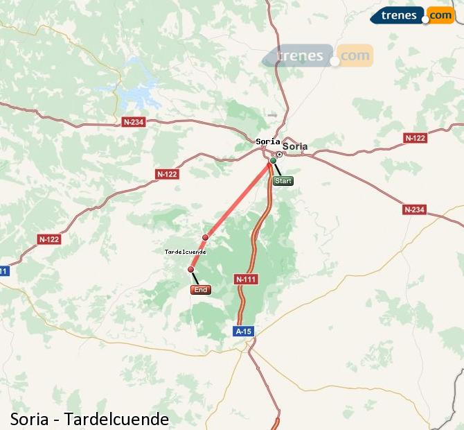 Enlarge map Trains Soria to Tardelcuende