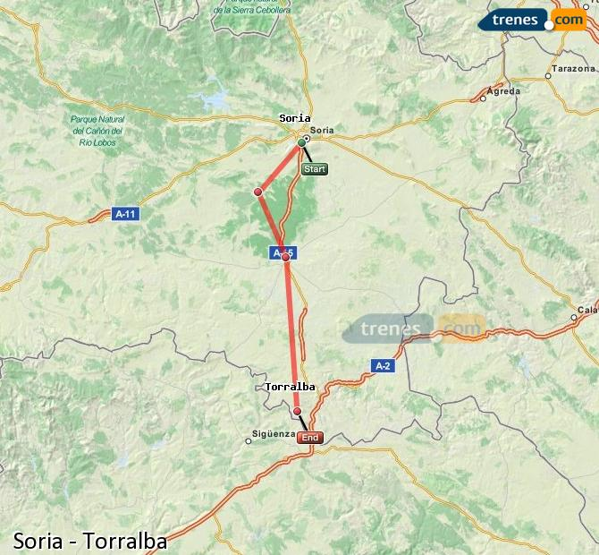 Enlarge map Trains Soria to Torralba