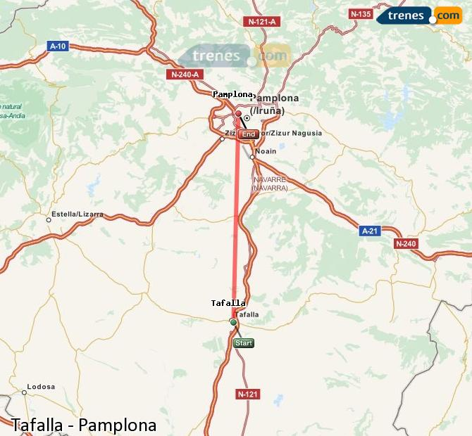 Enlarge map Trains Tafalla to Pamplona