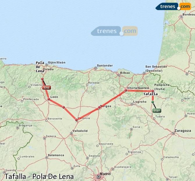 Agrandir la carte Trains Tafalla Pola De Lena