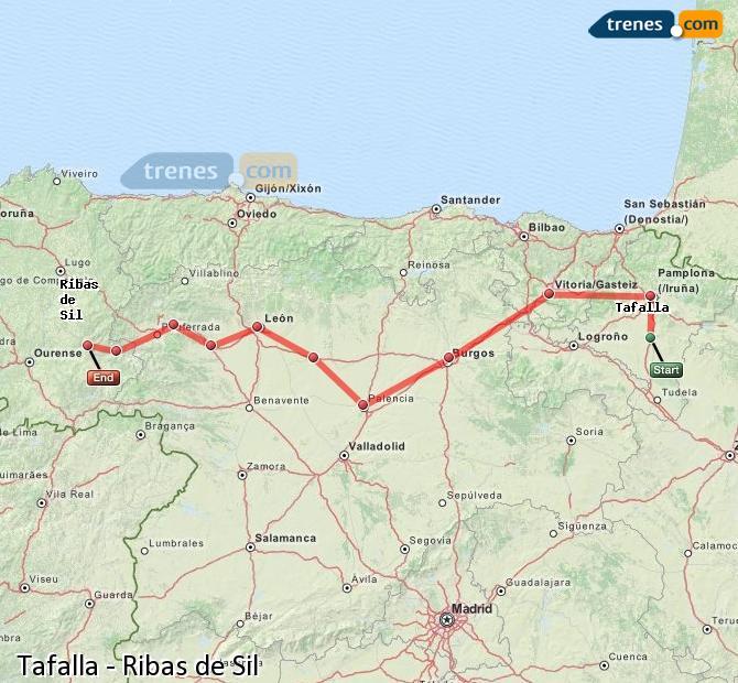 Karte vergrößern Züge Tafalla Ribas de Sil