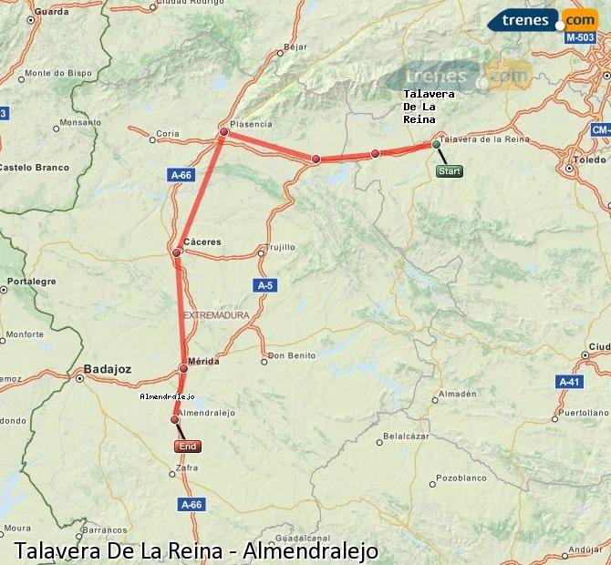 Ampliar mapa Comboios Talavera De La Reina Almendralejo