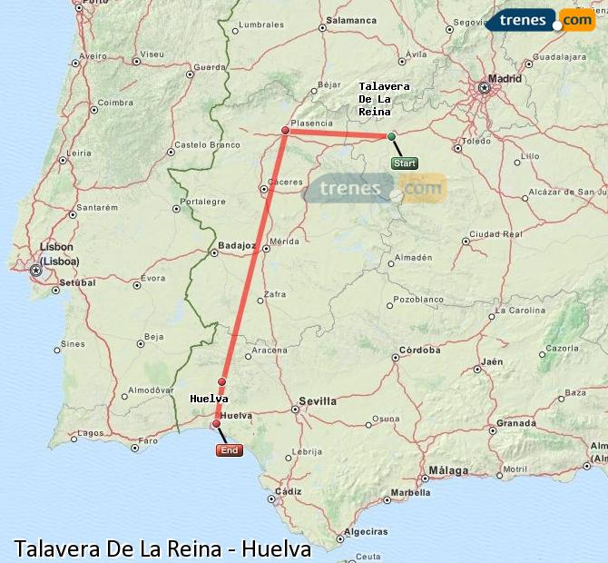 Enlarge map Trains Talavera De La Reina to Huelva