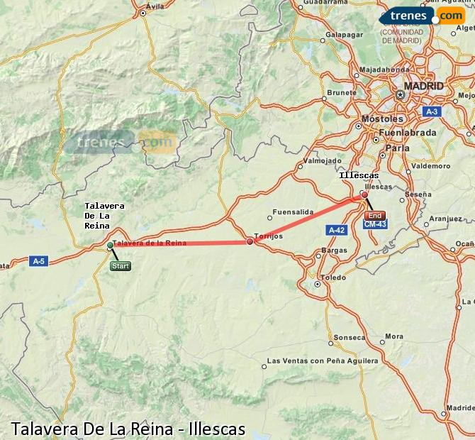 Enlarge map Trains Talavera De La Reina to Illescas