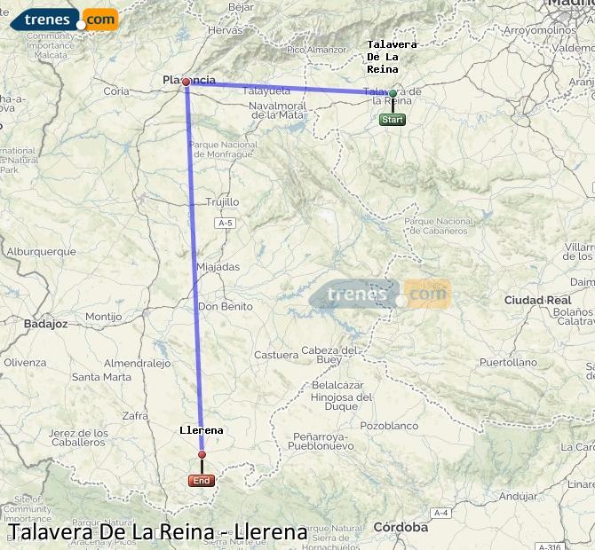 Karte vergrößern Züge Talavera De La Reina Llerena