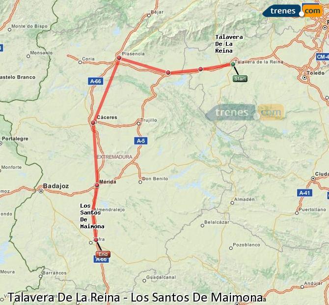 Enlarge map Trains Talavera De La Reina to Los Santos De Maimona
