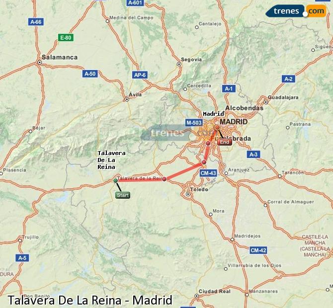 Agrandir la carte Trains Talavera De La Reina Madrid