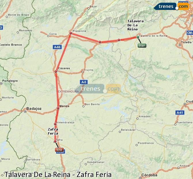 Enlarge map Trains Talavera De La Reina to Zafra Feria
