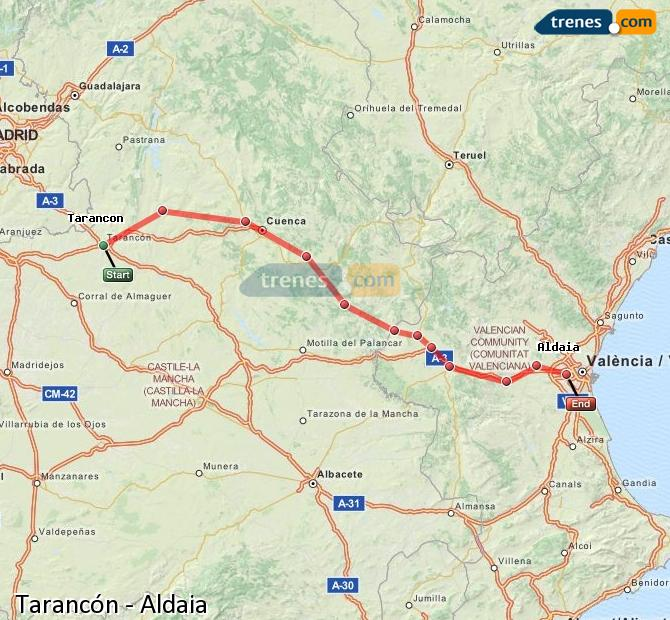 Enlarge map Trains Tarancon to Aldaia
