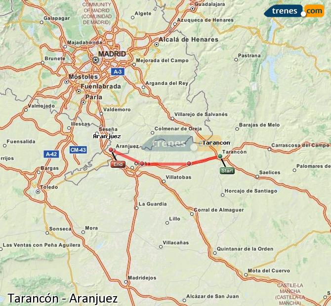 Enlarge map Trains Tarancon to Aranjuez