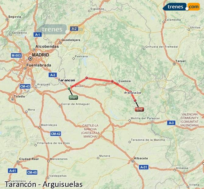 Enlarge map Trains Tarancon to Arguisuelas