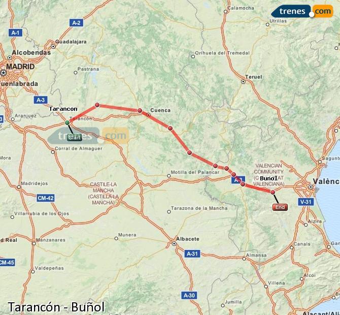 Enlarge map Trains Tarancon to Buñol