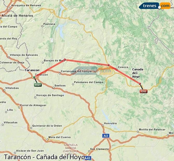 Enlarge map Trains Tarancon to Cañada del Hoyo