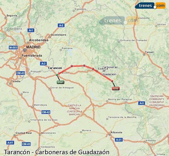 Enlarge map Trains Tarancon to Carboneras of Guadazaón