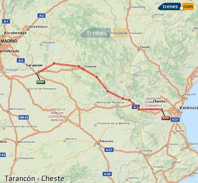 Enlarge map Trains Tarancon to Cheste